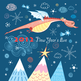 2012 card with flying dragon