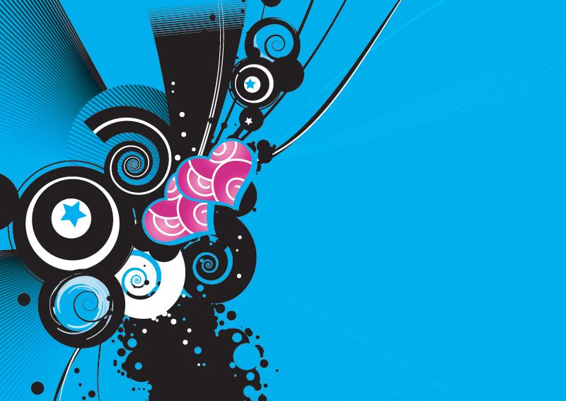 Retro shapes and brushes blue backdrop