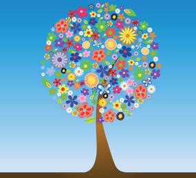 Vector Flower Tree Graphic gratis Descargar