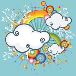 nubes ilustradas con el arte vectorial arco iris
