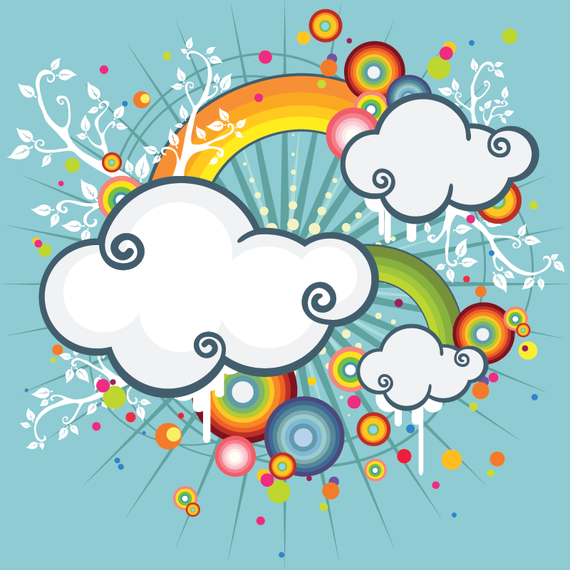 Illustrated clouds with rainbows vector art