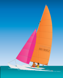 Two people sailing illustration