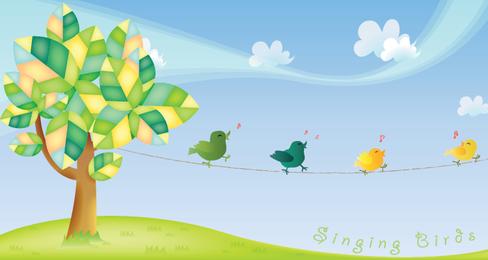 Cantando ilustração vetorial de aves - Página de download