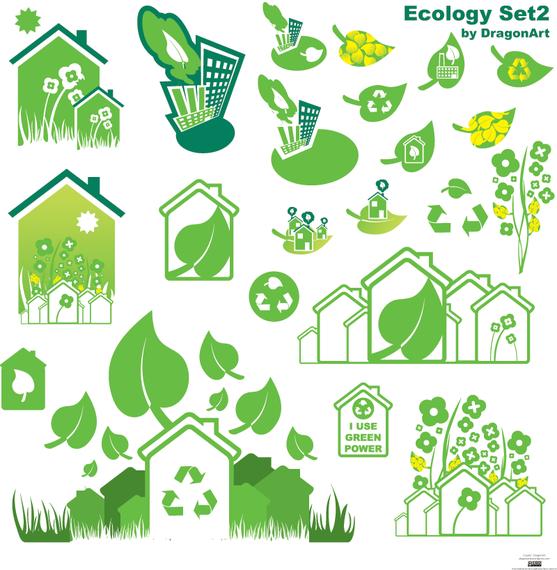 Set of 22 ecological elements