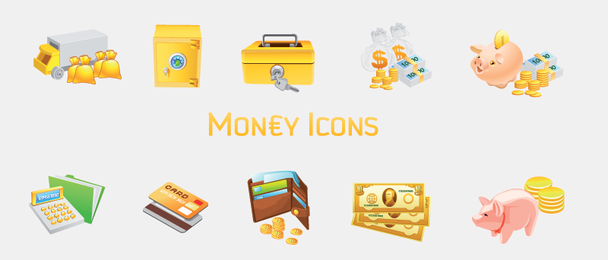 Conjunto de 10 iconos de dinero
