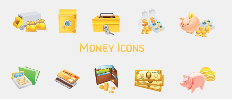 Set of 10 money icons