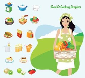Essen und Kochen-Icon-Set
