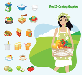 Food and cooking icon set