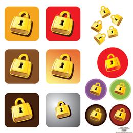 Golden Lock Vector Graphic