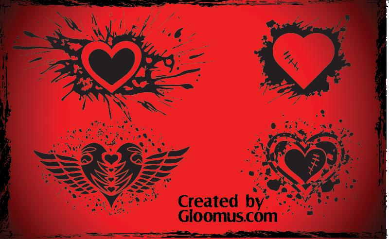 Vector Grunge Hearts