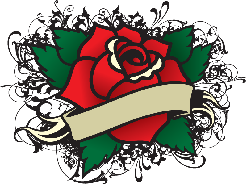 Rose Tattoo Template Vector Download
