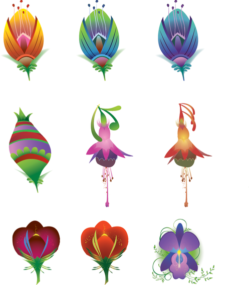 9 Vector Flowers