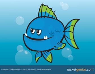 Vector azul pescado