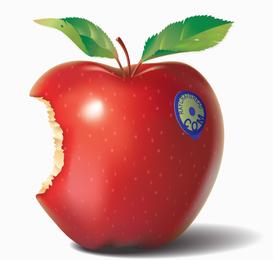 Ilustração 3D maçã mordida