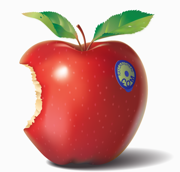 3D bitten apple illustration