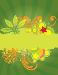 Fondo abstracto verde con pinceles