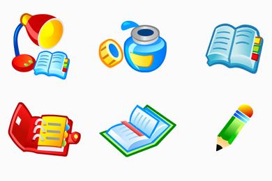 Conjunto de ícones de material escolar
