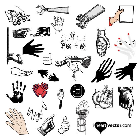 Hand illustration icon set