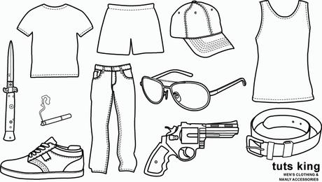 Herrenbekleidung und männliches Zubehör - Vektorgrafik