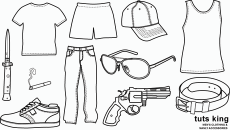 Men's Clothing and Manly Accessories - Vector Graphics