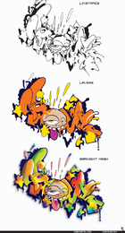 Ilustraciones de proceso de graffiti
