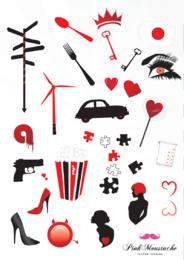 Freier Vektorsatz mit einigen Auto-, Gewehr-, Schuh-, Popcorn-, Liebesherzgegenständen