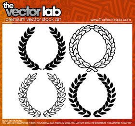 Laurel wreaths illustration set