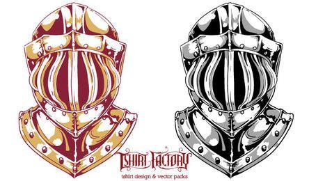 Conjunto de design de capacete de cavaleiro