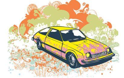 Ilustración de vector de coche retro grunge