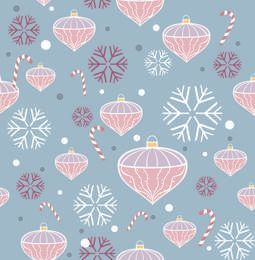 Funky Seamless Pattern with Xmas Ornaments