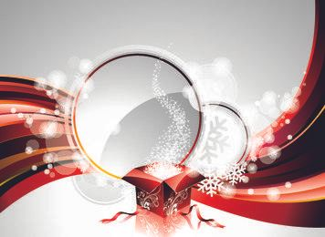 Tarjeta de Navidad brillante abstracta con caja de regalo