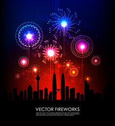 Colorful Firework Explosion with Silhouette City