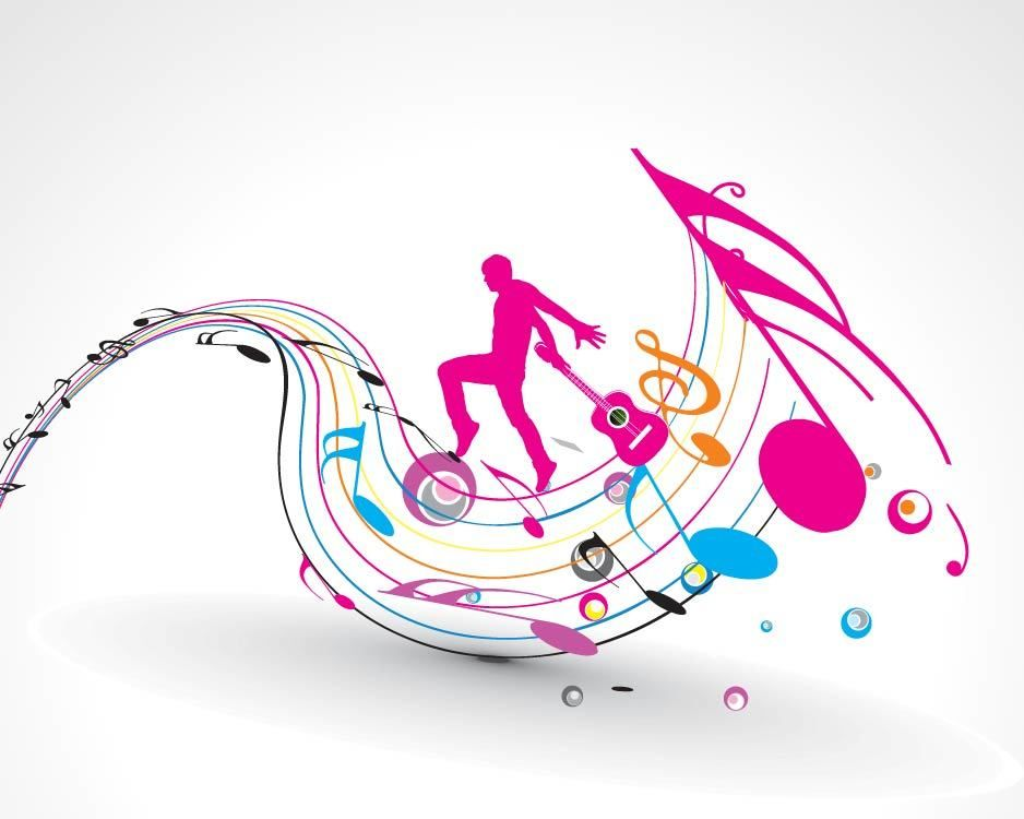 Silhouette Guitarist with Colorful Musical Notes - Vector ...