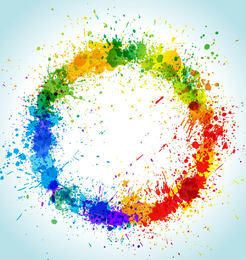 Colorful Grungy Circular Paint Splashes