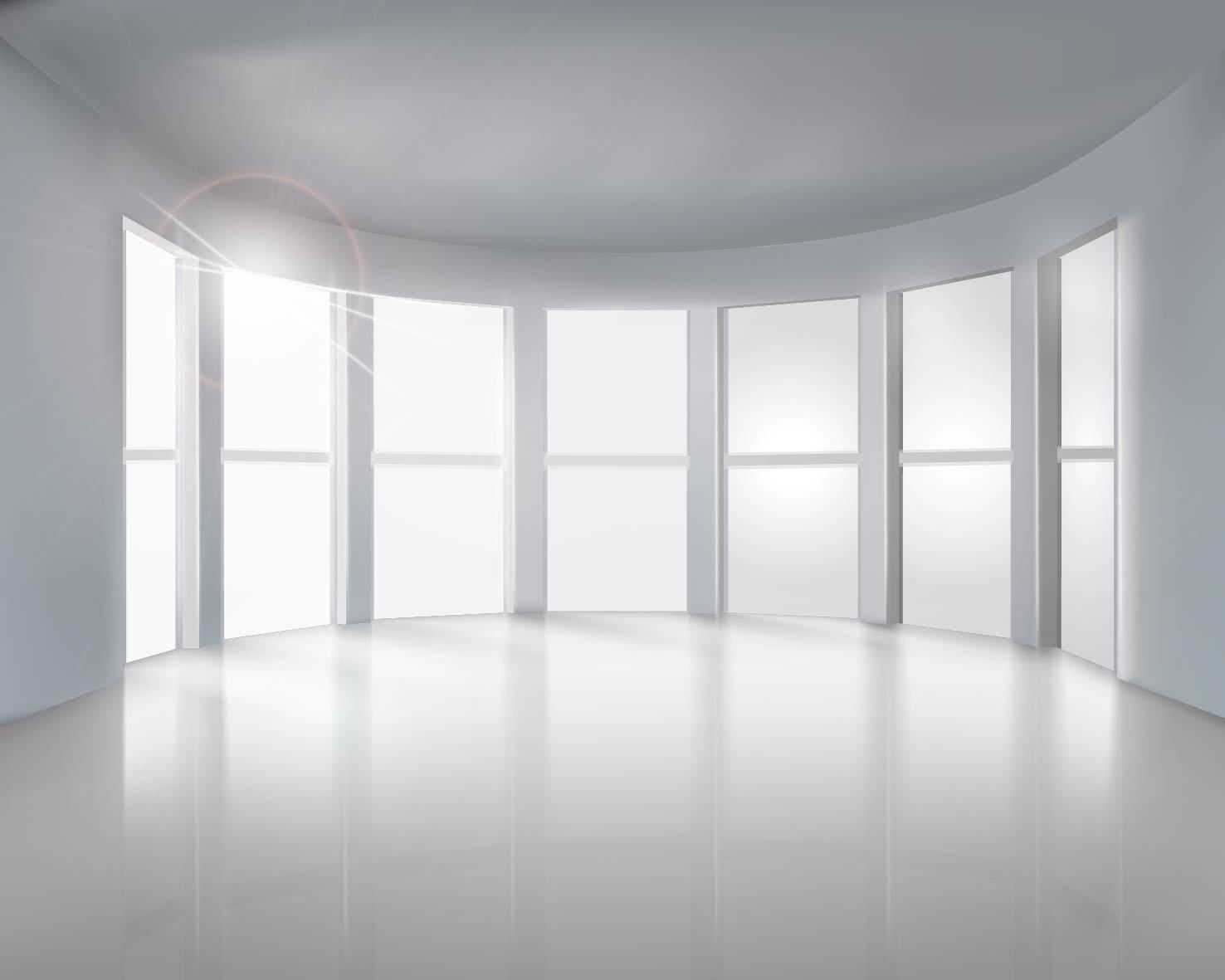Realistic Empty Room with Big Windows - Vector download