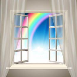 Fondo interior realista con arco iris