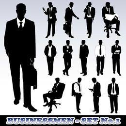 Conjunto de silhueta de homem de negócios