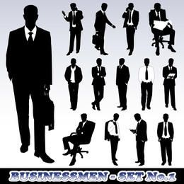 Conjunto de silueta de hombre de negocios