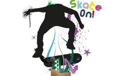 Skate na silhueta de homem
