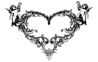 FANTASY HEART ANGEL ORNATE FREE VECTOR
