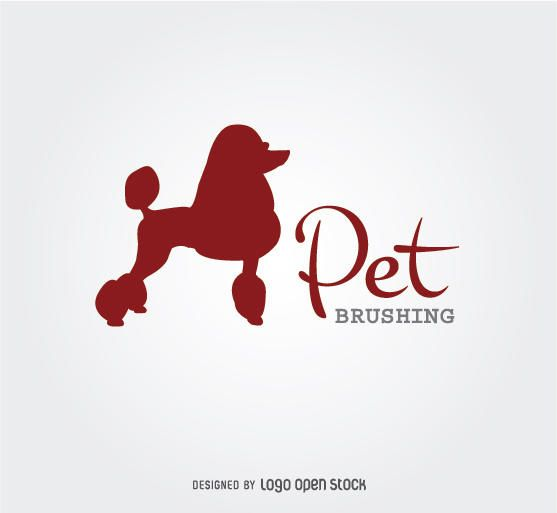 Poodle Silhouette Dog Brushing Logo - Vector download