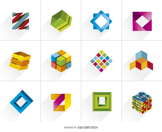 Creative 3D Cubic Colorful Logos - Vector download