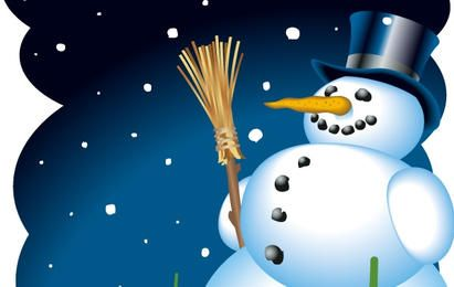 Vetor de bonecos de neve feliz