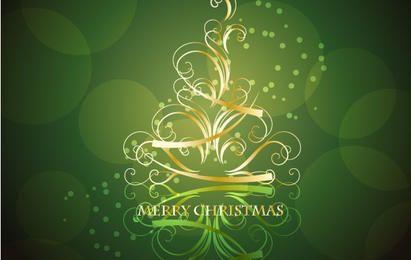 Árbol de Navidad remolino dorado con fondo verde negruzco