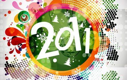 2011 año nuevo floral Backgound Vector Graphic