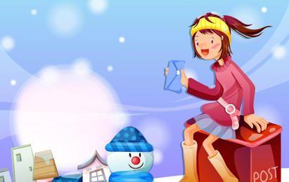 Cartão de Natal com uma garota e presentes