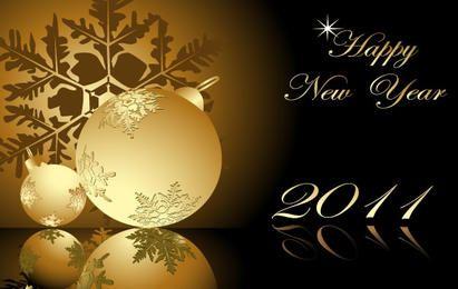 Ano novo 2011 flocos de neve dourados