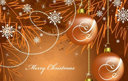 Snowflakes and Ornaments Christmas Background