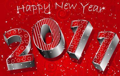 feliz ano novo 3D 2011 vermelho