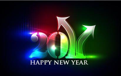 Feliz año nuevo luces de neón